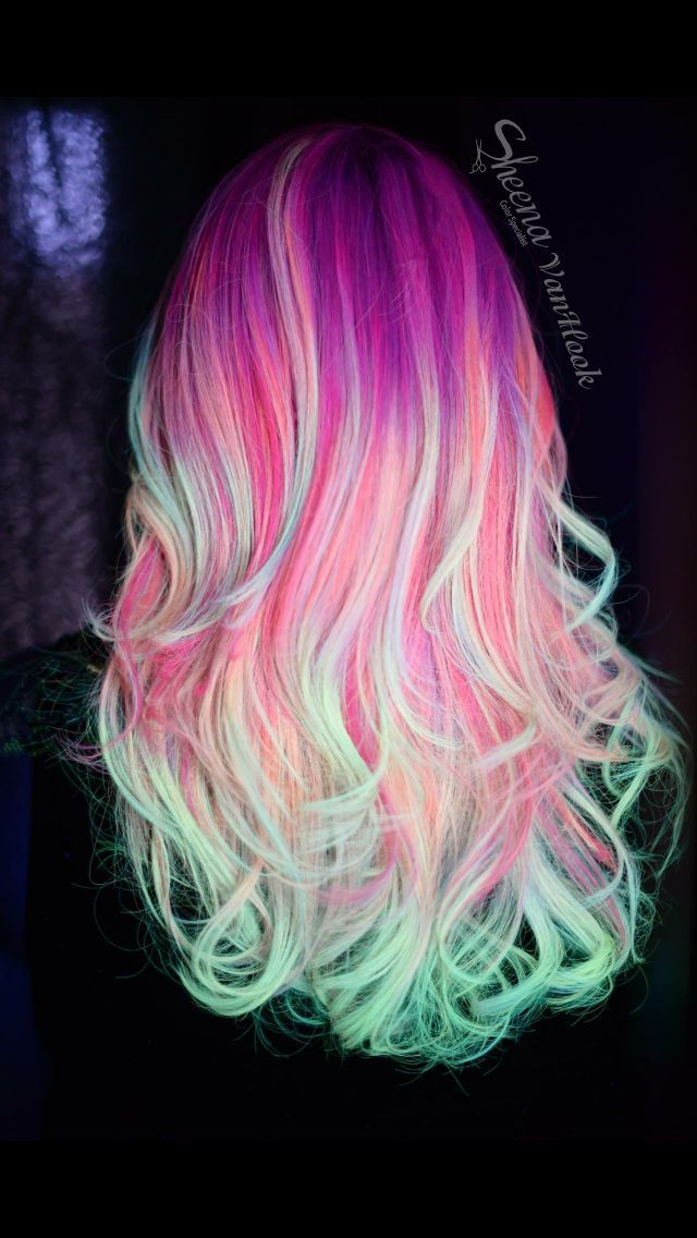Blacklight Rainbow Haircolor #haircolor #hairstyle #haarfarbe #frisuren