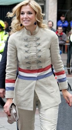 Queen Maxima in a Postbag Jacket by Dutch designer Jan Taminiau
