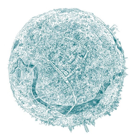 Pier Gustafson makes some badass hand-drawn maps, such as this spherical view centered on someone's home in Cambridge, Mass.