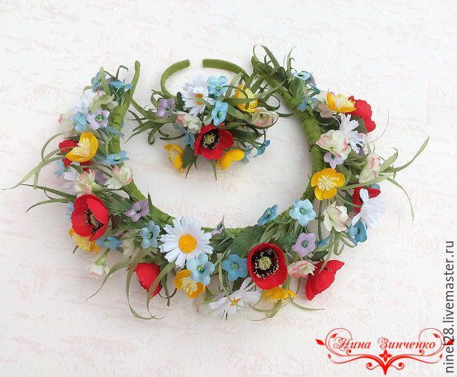 """Купить """"Полевые цветы"""". Комплект из шёлка. - цветы из шелка, полевые цветы и травы, для фотосессии"""