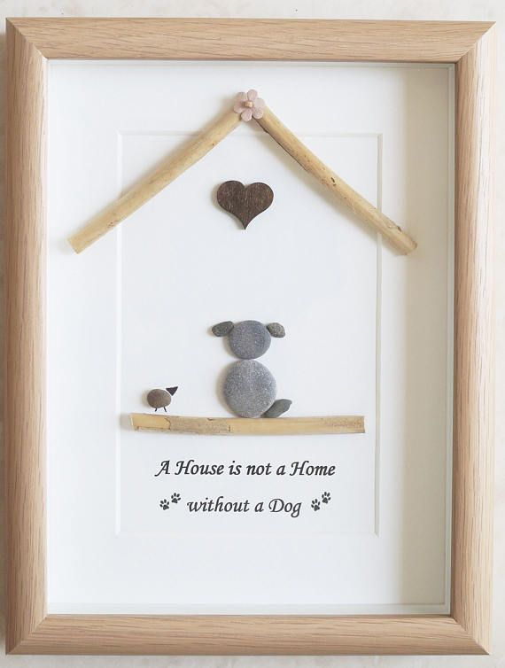 This is a beautiful small Pebble Art framed Picture of Dog - A House is not a Home without a Dog  handmade by myself using Pebbles, Driftwood & Wooden Heart Size of Picture incl Frame : approx. 22cm x 17cm  This Picture is finished and only available as shown in Photo  Thanks for looking Doris   Facebook: https://facebook.com/Pebbleartbyjewlls4u      Product Code: P - Aqua