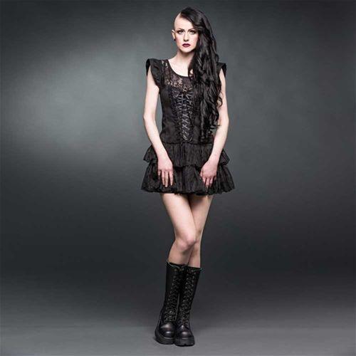 Mini jurk met corset lint detail en geplooide rok zwart - Gothic Lolita