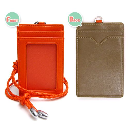 Card Holder Necklace Business ID Leather Badge Neck Lanyard Wallet Strap Purse | eBay