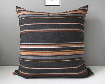 Grey & Orange Pillow Cover, Modern Outdoor Pillow Cover, Striped Throw Pillow Case, Masculine Gray and Orange Sunbrella Pillow Cushion Cover