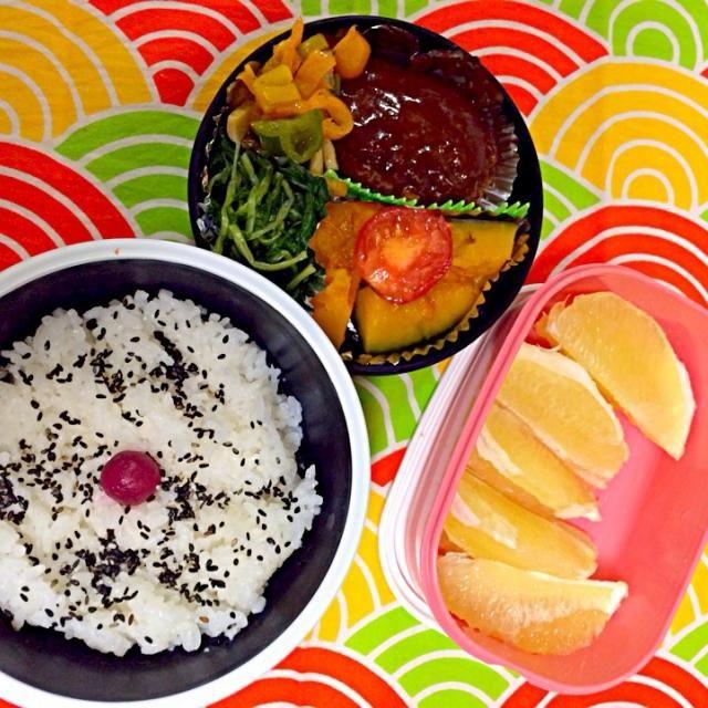 ⚫︎ハンバーグ ⚫︎エリンギとパプリカのソテー ⚫︎焼きトマト ⚫︎根三つ葉のおひたし ⚫︎かぼちゃの蜂蜜煮 ⚫︎ごま塩ごはん ⚫︎グレープフルーツ - 8件のもぐもぐ - 旦那くんのお弁当 by aikos1taro