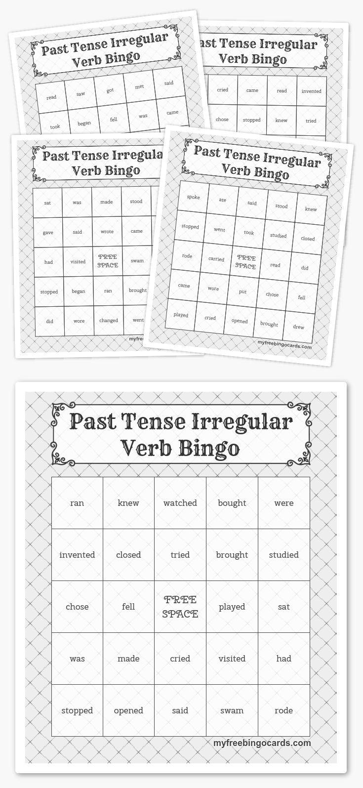 Past Tense Irregular Verb Bingo