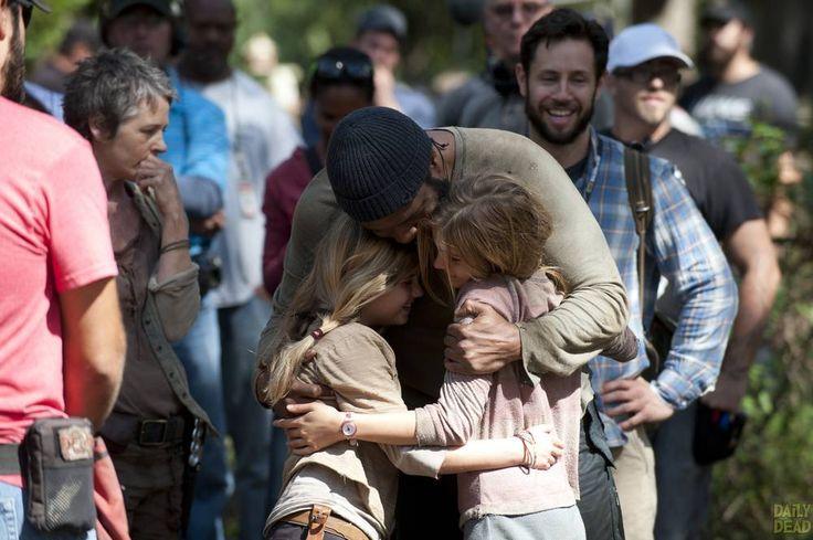 Melissa Suzanne McBride, Kyla Kenedy, Brighton Sharbino, and Chad Coleman - The Walking Dead _ Season 4, Episode 14 _ BTS - Photo Credit: Gene Page/AMC