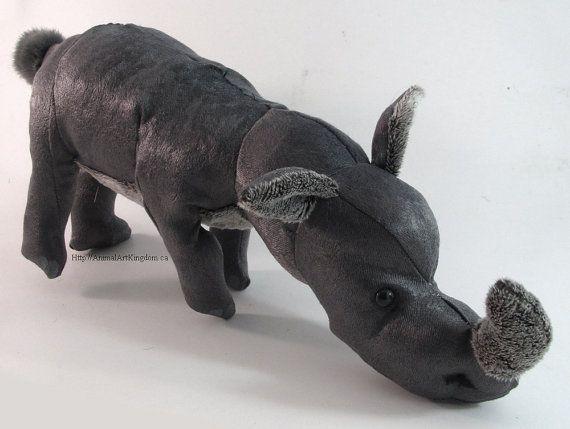 Handmade Rhino Zoo Plush Stuffed Animal Toy by AnimalArtKingdom