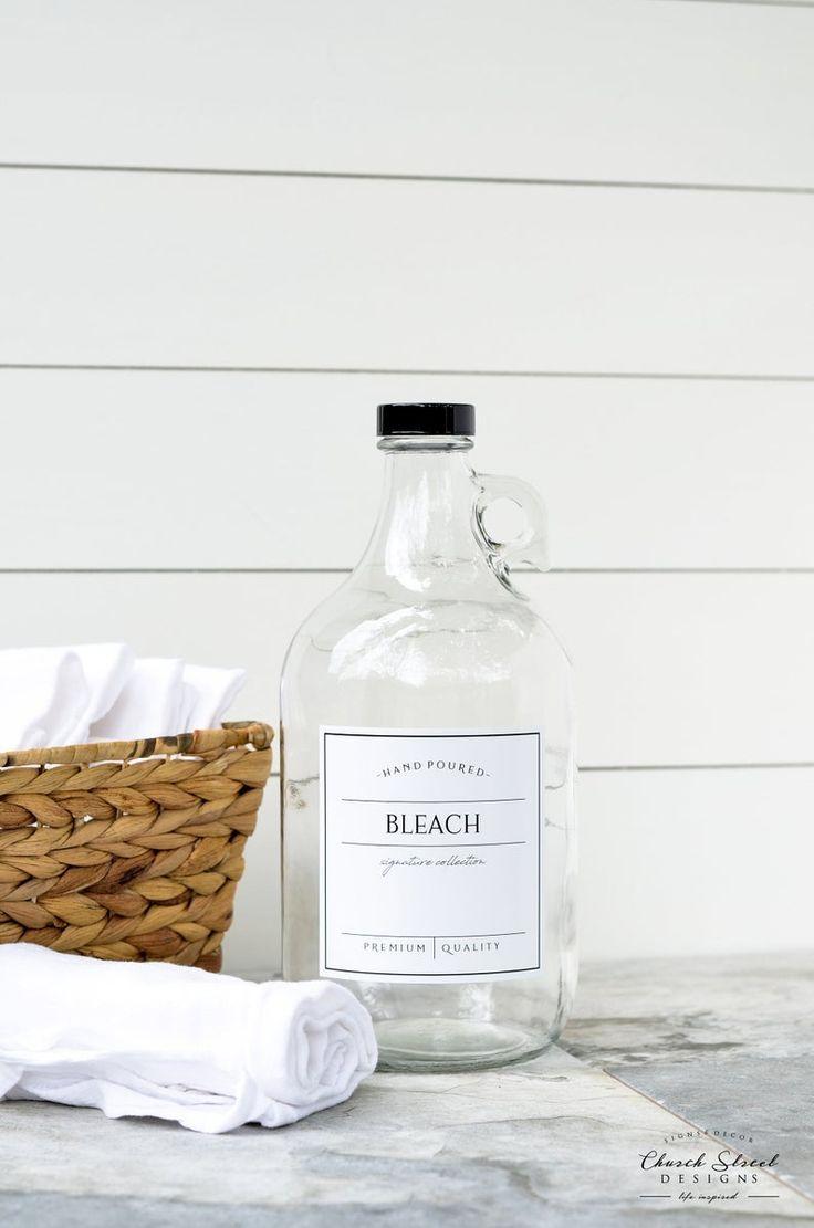 Half Gallon Jug Laundry Soap Bottles Detergent Softener Bleach Refillable Bottles With Labels Half Gallon Jug Growlers In 2020 Bleach Bottle Laundry Soap Laundry Room Decor