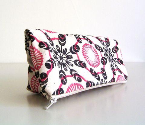 block printed clutch purse