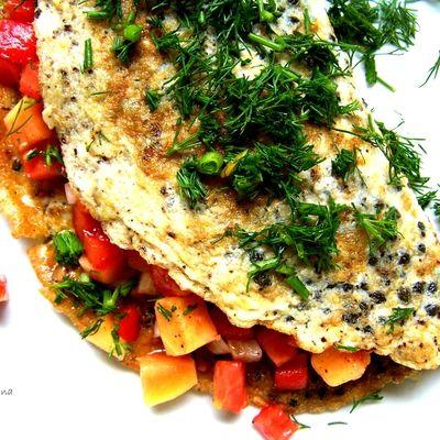 papaya seeds omelette with tomato and papaya salsa / omlet z pestkami papai i 'salsą' z papai oraz pomidorów - DoradcaSmaku.pl