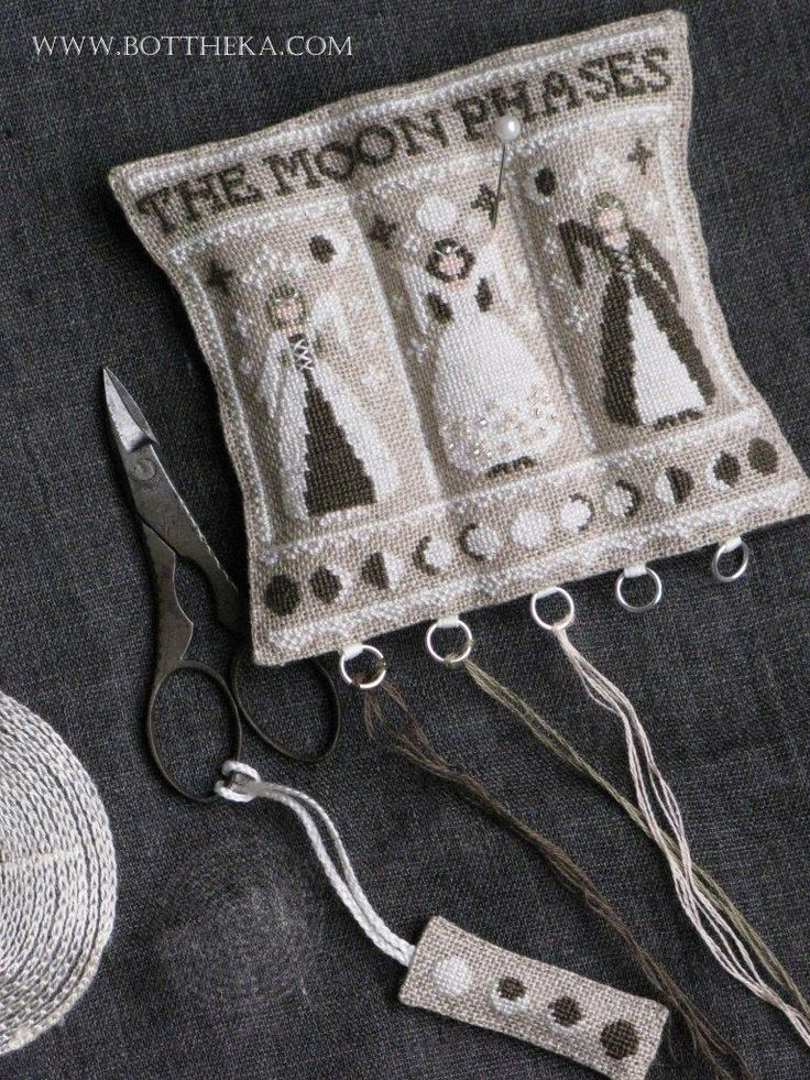 cross stitch, the little stitcher, linen, dmc, mill hill, pearl, scissors fob, pincushion http://bottheka.com/en/total