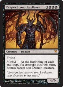 Magic: the Gathering - Reaper from the Abyss - Innistrad by Wizards of the Coast. $1.49. From the Innistrad set.. This is of Mythic Rare rarity.. A single individual card from the Magic: the Gathering (MTG) trading and collectible card game (TCG/CCG).. Magic: the Gathering is a collectible card game created by Richard Garfield. In Magic, you play the role of a planeswalker who fights other planeswalkers for glory, knowledge, and conquest. Your deck of cards represents all the w...