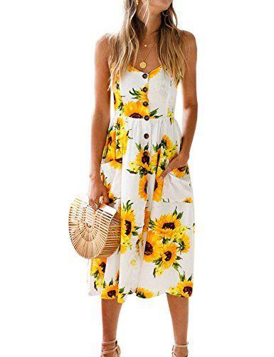 6598110cf2 Blooming Jelly Womens Summer Sleeveless Hawaiian Dresses High Waist Button  Down Floral Boho Midi Chiffon Dress with Pockets