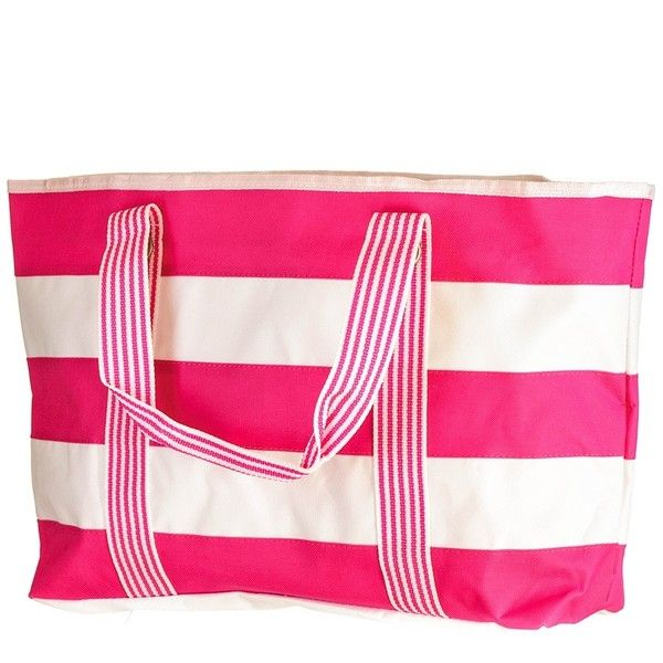 Hot Pink and White Striped Beach Bag (140 RON) ❤ liked on Polyvore featuring bags, handbags, beach handbags, waterproof purse, striped purse, long purses and stripe purse