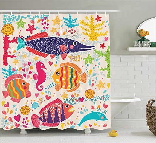 Sea Animals Decor Shower Curtain Set By Ambesonne, Cartoon Art With Fish Seahorse Starfish Dolphin Coral Underwater Life Kids Deco, Bathroom Accessories, 69W X 70L Inches, Red Yellow Blue
