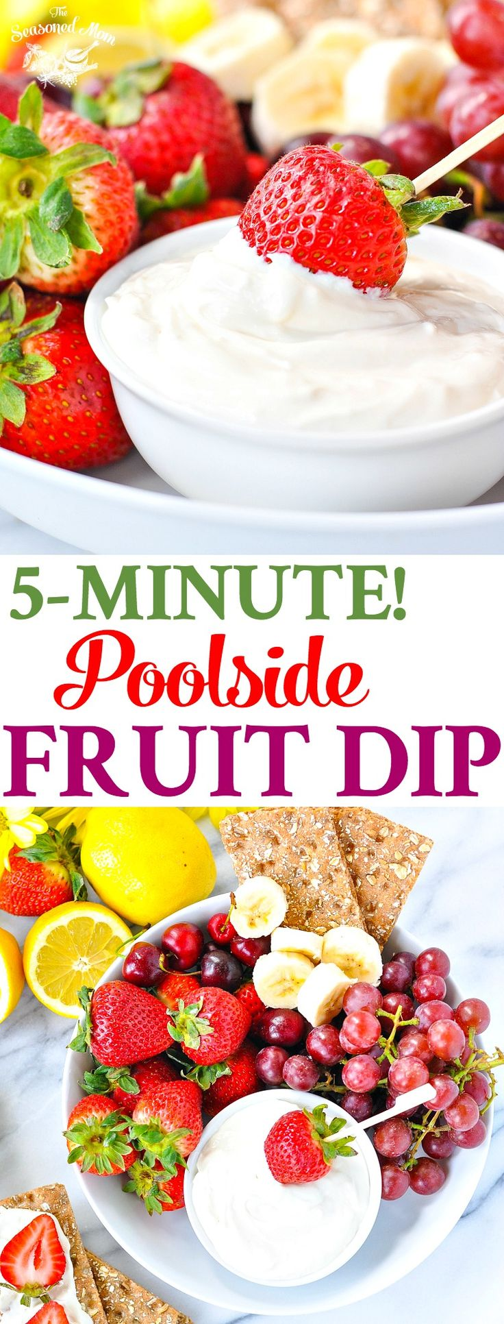 5-Minute Poolside Fruit Dip! Healthy Snacks for Kids   Snack Ideas   Snacks for Party   Snacks Healthy   Healthy 5 Ingredient or Less Recipes   Healthy Recipes   Healthy Snacks   Healthy Desserts   Dip Recipes   Dips   Appetizers   Gluten Free #SurprisinglySatisfying #ad