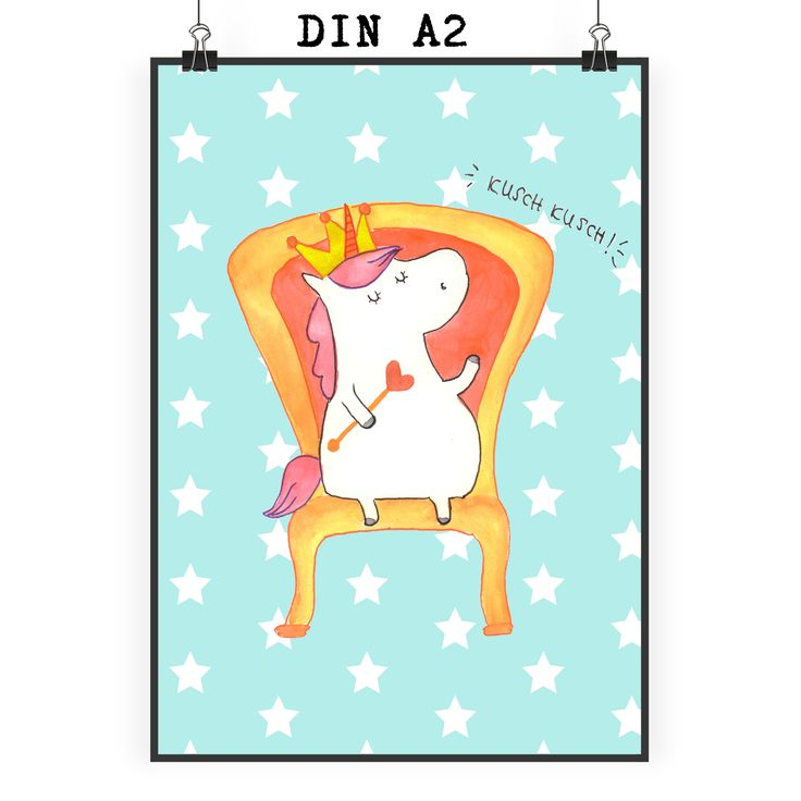 Poster DIN A2 Einhorn König aus Papier 160 Gramm  weiß - Das Original von Mr. & Mrs. Panda.  Jedes wunderschöne Poster aus dem Hause Mr. & Mrs. Panda ist mit Liebe handgezeichnet und entworfen. Wir liefern es sicher und schnell im Format DIN A2 zu dir nach Hause.    Über unser Motiv Einhorn König  Das süße Einhorn auf dem Thron ist genau das richtige Geschenk für die beste Freundin. Denn manchmal würden wir doch alle gerne mit einer Krone auf einem Thron sitzen und Leuten, die uns nerven…