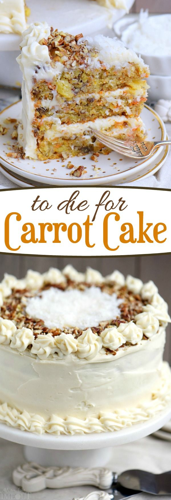 This To Die For Carrot Cake receives rave reviews for it's unbelievable moistness and flavor! Truly the BEST CARROT CAKE you'll ever try! So easy to make and as an added bonus, there's no oil or butter! I know this cake will quickly become a family favorite! // Mom On Timeout: