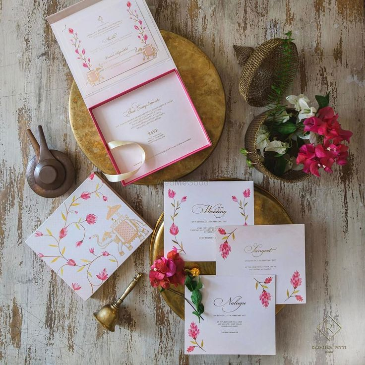 wedding card manufacturers in tamilnadu%0A Summery whites and pinks  this understated invitation set is pretty cute    By  radhikapittistudio