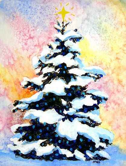 "How to Paint Christmas Cards | Christmas Tree"" -watercolor painting of a snowy lit pine tree by Mary ..."