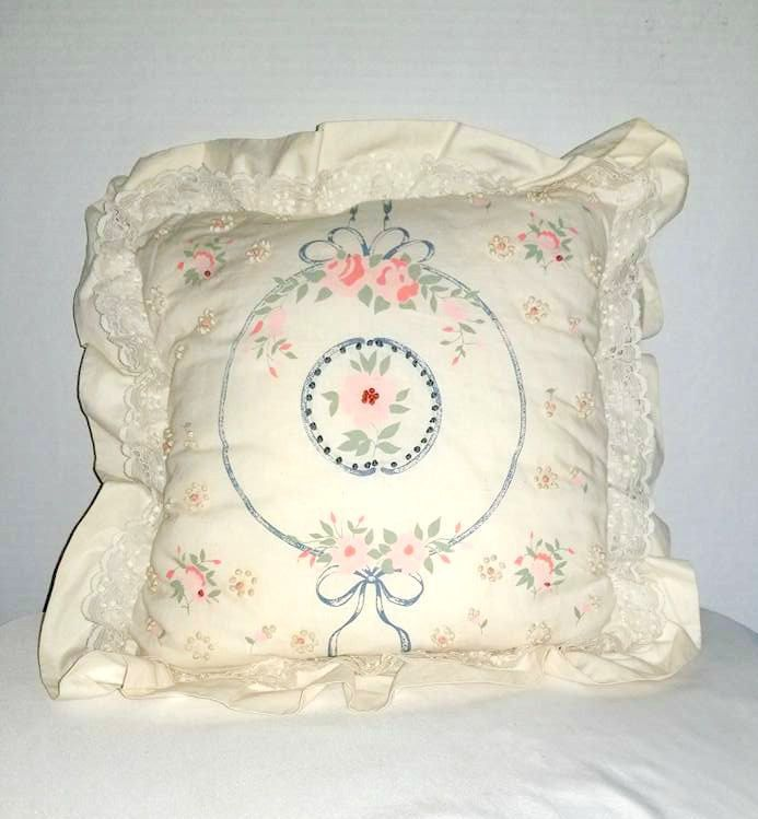 Vintage Shabby Chic Throw PillowPink And Blue Floral Pillow Mesmerizing Vintage Chic Decorative Pillows