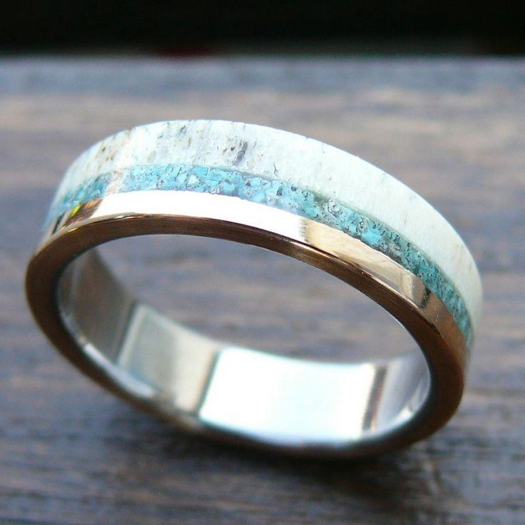Titanium Deer Antler Ring With Natural Crushed Stone