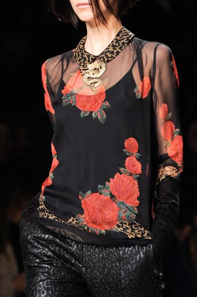 Blugirl Fall 2013 - Details.  I like the leopard vs the floral, but not the dragon at the collar...