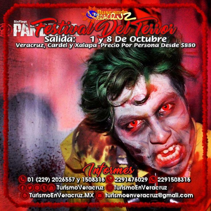 El #FestivalDelTerror De #SixFlags nos espera este 8 de octubre saliendo de #Veracruz #Cardel y #Xalapa  ¡ Reserva Tu Lugar YA !  Más información en: Tels: 01 (229) 202 65 57 y 150 83 16  WhatsApp: 2291476029 y 2291508316 Email / Hangouts: turismoenveracruz@gmail.com http://www.turismoenveracruz.mx/2017/09/festival-del-terror-de-sixflags-2017-saliendo-de-veracruz-cardel-y-xalapa/