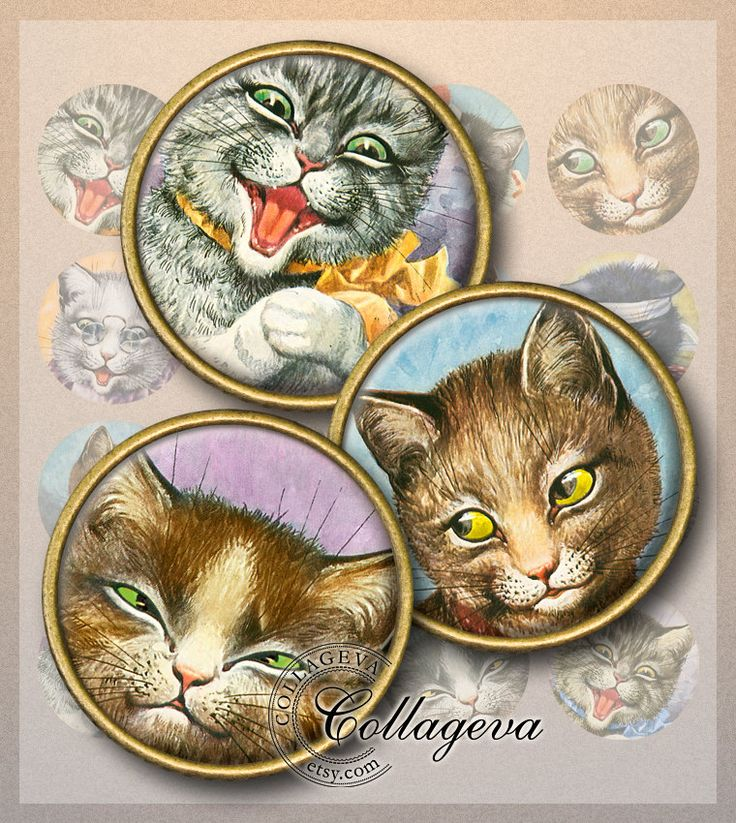 "Vintage Cats Digital Collage Sheet, 1.5"" 1.25"" 30 mm 25 mm 1 inch circles, funny kitty puss tomcat printable feline clipart images (EA02-c) by collageva on Etsy"
