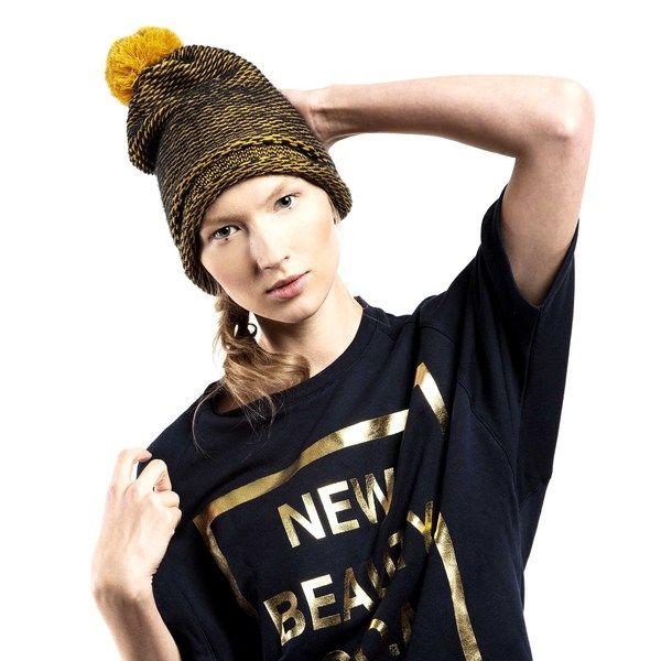 Czapka Beanie Pompon Beret GOLD w CADO accessories na DaWanda.com