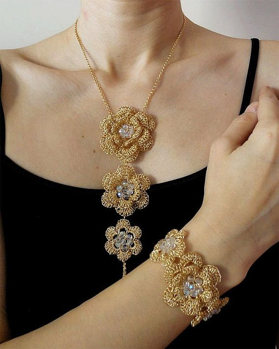 Jewelry set gold crochet wire necklace and bracelet romantic feminine bridal necklace wedding bracelet