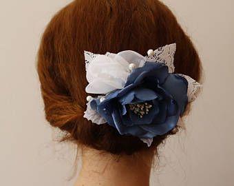 Light Navy Blue Flower Hair Clip,Blue white Hair Flower,Bridal Headpiece,Flower fascinator,flower bridal hair clip,Wedding Hair Flower