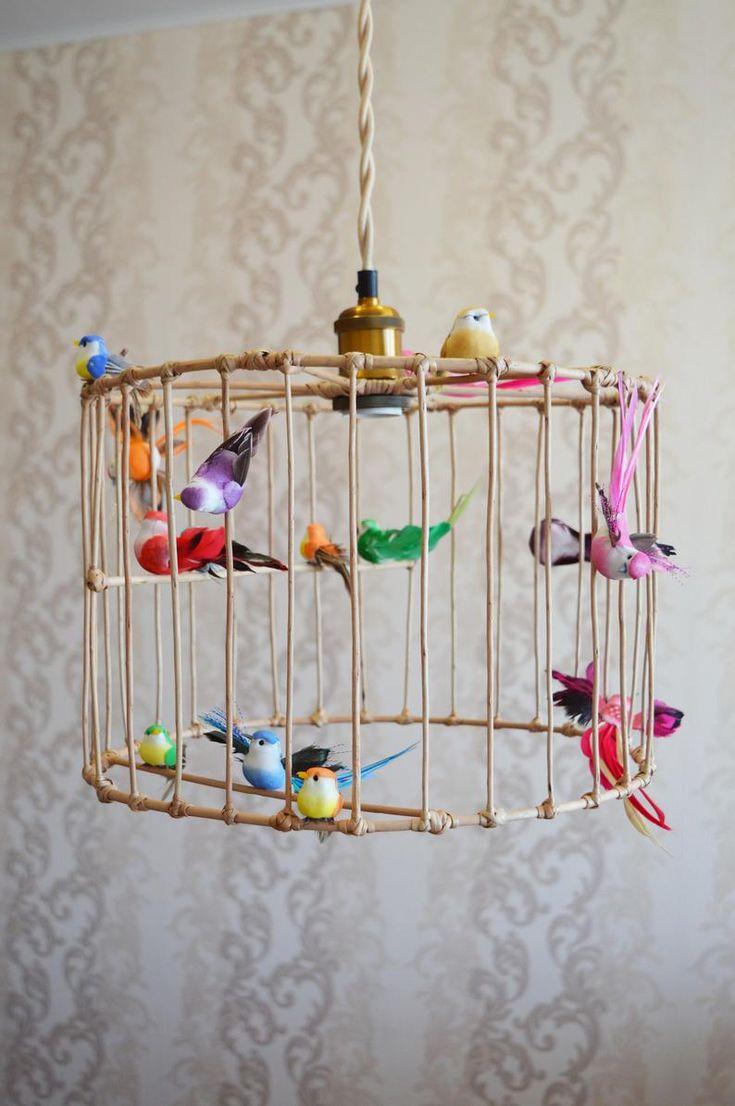 Small Birdcage Pendant Light / Wicker Chandelier, Kids ...