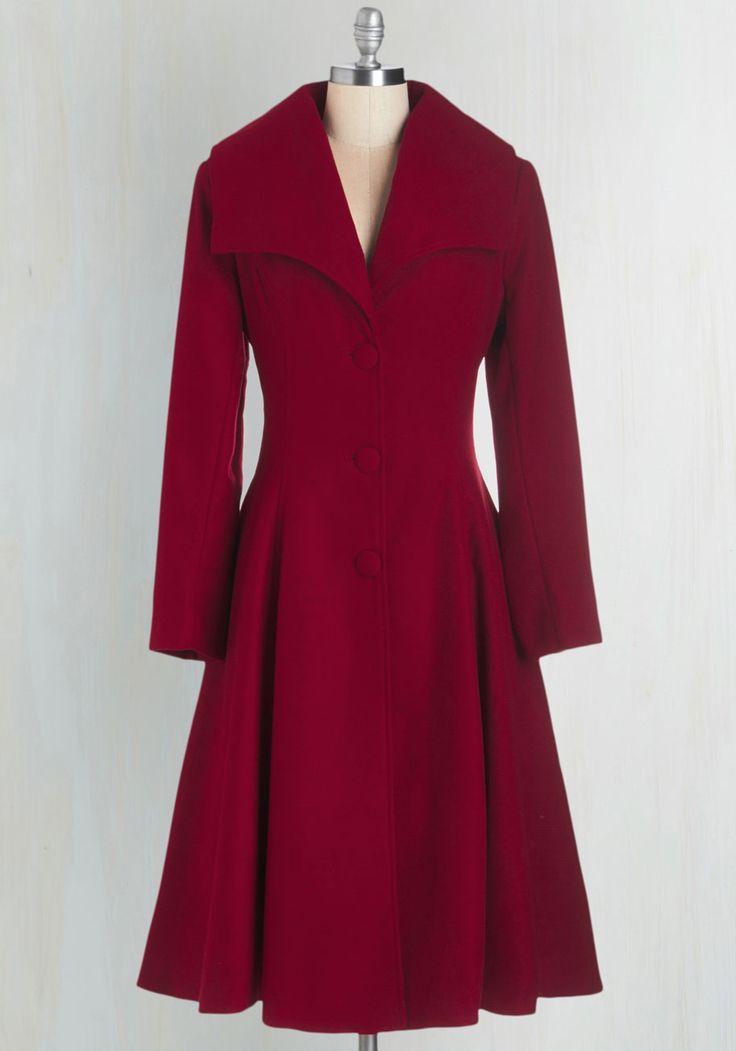 Intrigue All About it Coat in Crimson | Mod Retro Vintage Coats | ModCloth.com