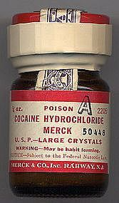 "Merck Cocaine 1882.  Oh MY!  There was Paregoric (opium), Cannabis (marijuana) and here Cocaine  over the counter!!!  Note this bottle says ""Poison""!"