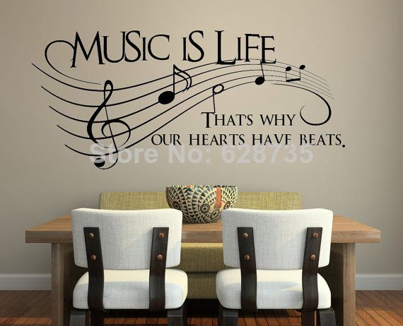 Music is life.. That's why our hearts have beats    Vinyl Wall Decal Sticker Music , musical wall art decoration free shipping-in Wall Stick...