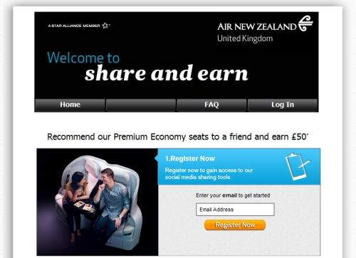 Air New Zealand claims airline first on social share rewards. The airline is rewarding consumers who share information about its premium economy Spaceseat product via social media with £50 cashback if the share results in a booking.