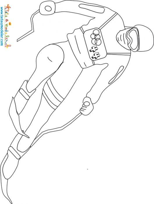 Coloriage super G ski alpin