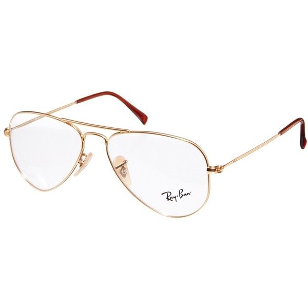 Ray-Ban Aviator Glasses ($160) ❤ liked on Polyvore featuring accessories, eyewear, eyeglasses, óculos, gold, adjustable glasses, clear eye glasses, aviator glasses, clear aviator glasses and nose pads glasses