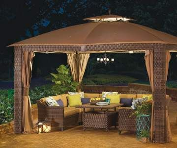 Big Lots - Windsor 10' x 12' Gazebo $399 in 2017 outdoor catalog; includes netting & privacy curtains web 810213583