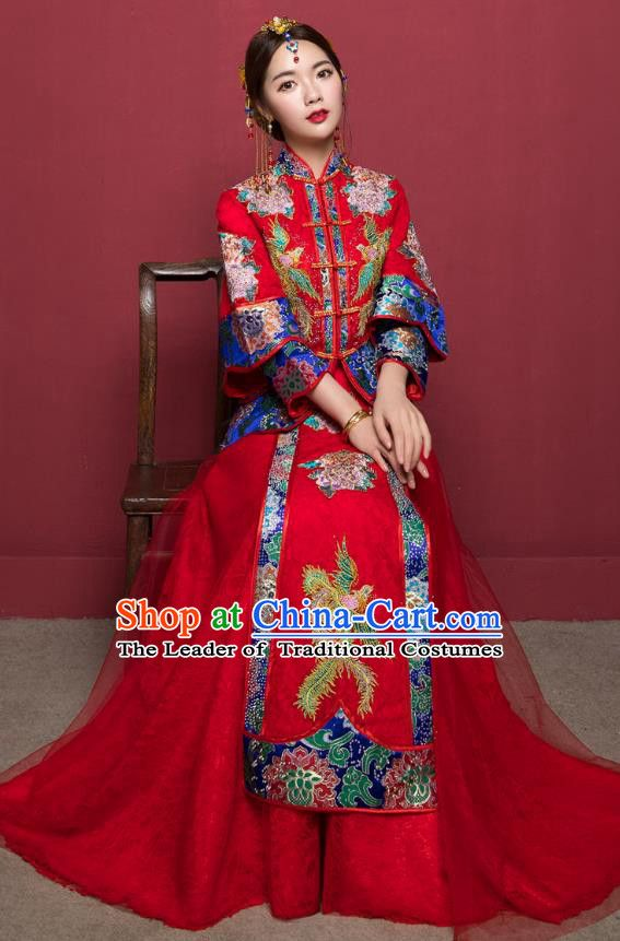 1d129f012 Traditional Ancient Chinese Wedding Costume Handmade Delicacy Embroidery  Veil Longfeng Flown XiuHe Suits, Chinese Style Hanfu Wedding Dress Bride  Toast ...