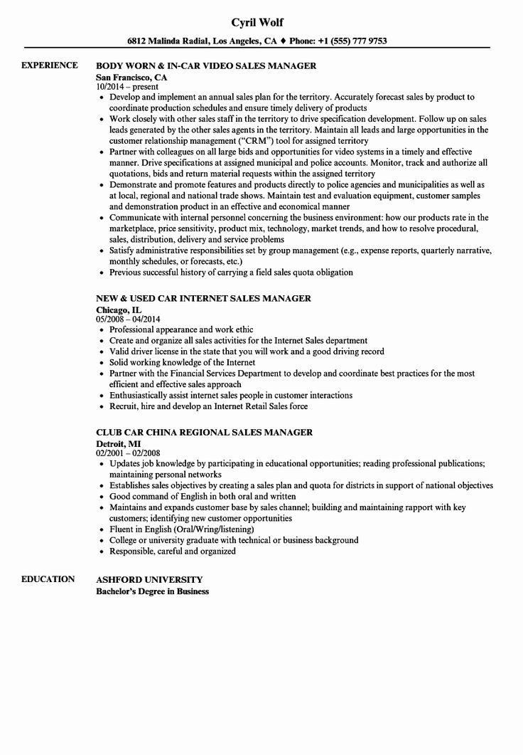 Automobile service manager resume awesome car sales