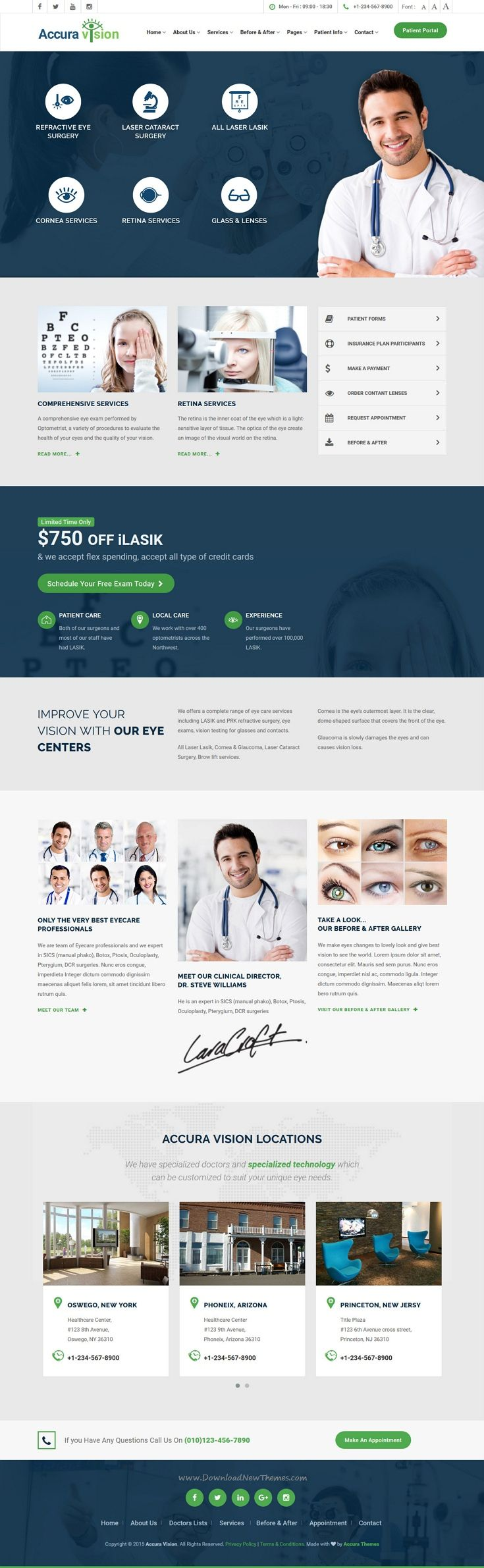 EyeCare is premium Bootstrap HTMl5 template for #Eye Doctor, #LASIK, Eye Hospital website. #webdesign Download Now!