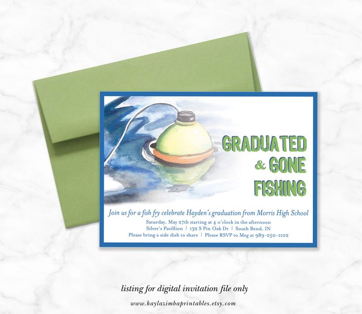 Fishing Graduation Invitation, Graduation Open House Party, High School Graduation, College Graduation Invite, Boy Grad Fishermen Party by KaylaZimbaPrintables on Etsy https://www.etsy.com/listing/520080556/fishing-graduation-invitation-graduation