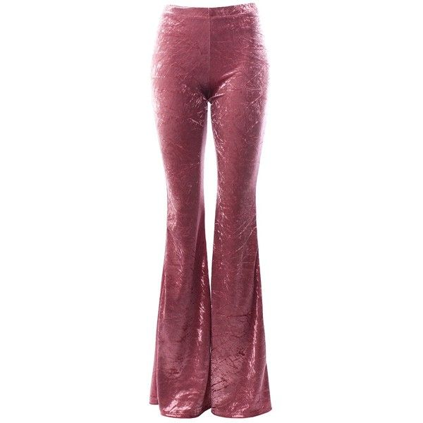 Sans Souci Mauve crushed velvet bell bottom pants (£26) ❤ liked on Polyvore featuring pants, bottoms, trousers, pink, velvet, mauve, elastic waist pants, purple pants, bellbottom pants and pull on pants