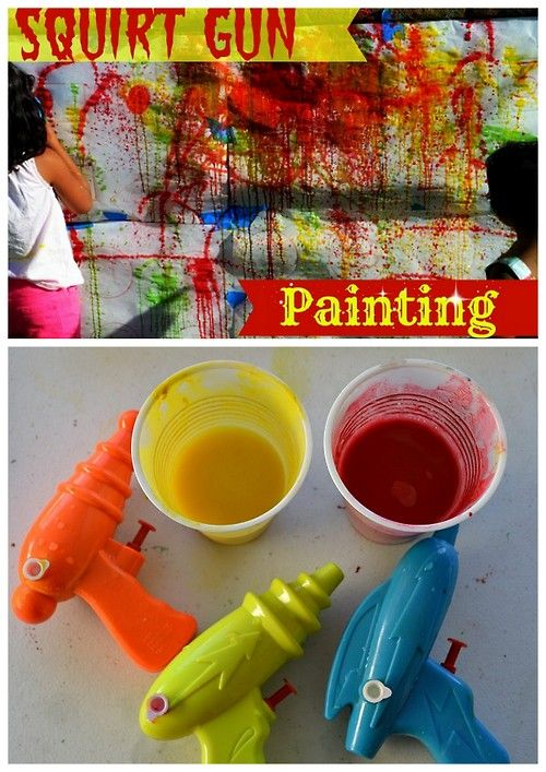 DIY Squirt Gun Wall Art Tutorial from Blog Me Mom here. This looks like so much fun - wondering how to make it more Wall Art because the paint she used was powdered tempera paint mixed with water. For more wall art ideas go here.