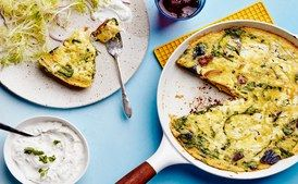 Spanish Frittata with Herby Yogurt and Greens / Photo by Chelsea Kyle, Food Styling by Ali Nardi
