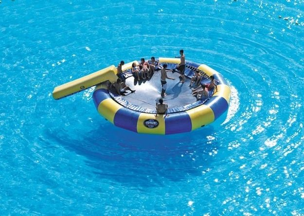 water trampolines! Cool! Buy OMGOMG THATS A GIGANTIC POOL!!! Its 3,324 or something feet and it takes up 19.8 acres!