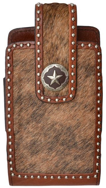 (3DB-PH646) Western Hair-On Star Concho Cell Phone Holder for iPhone 6+
